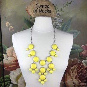 Bib Style Yellow Drop Statement Necklace